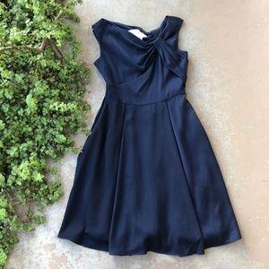 Gal Meets Glam Noelle Twist Neck Blue Satin Dress